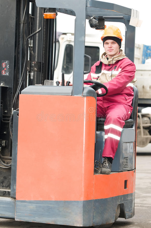 Warehouse worker in stacker royalty free stock images