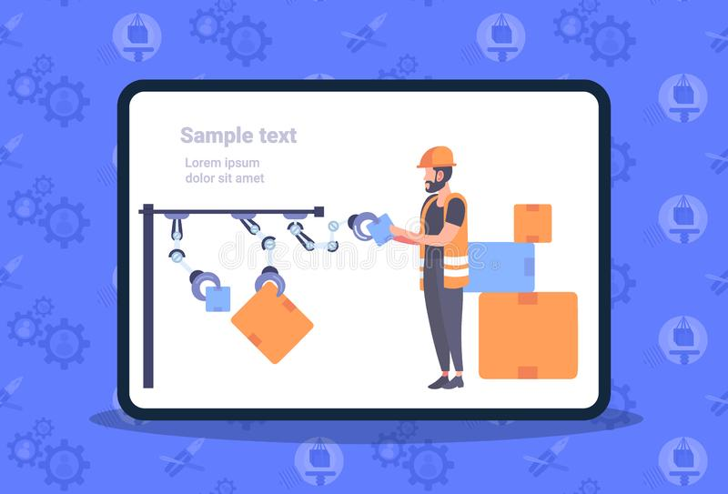 Warehouse worker in uniform arranging cardboard boxes with robot arms automated robotic production line modern storage. Horizontal full length flat copy space royalty free illustration