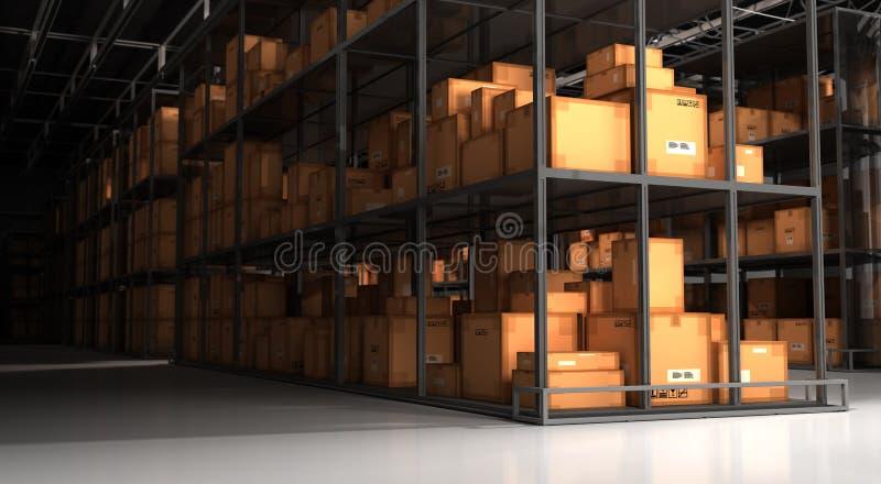 Warehouse y cajas stock de ilustración