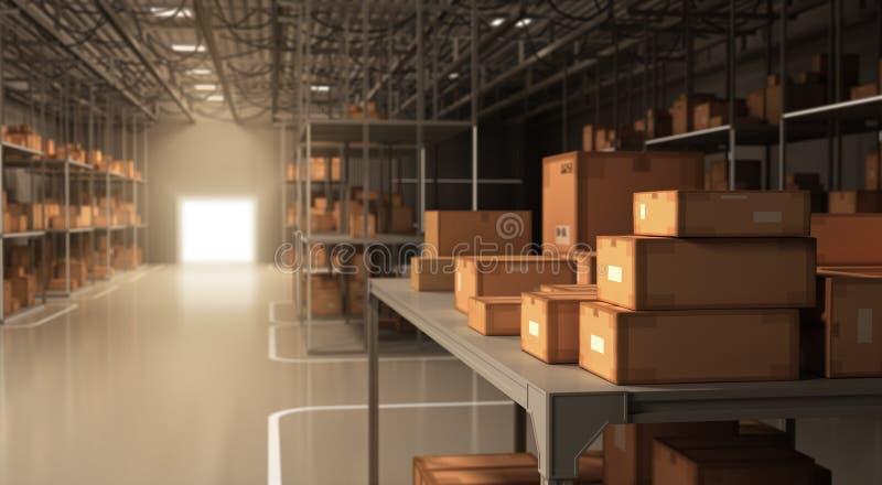 Warehouse y cajas ilustración del vector