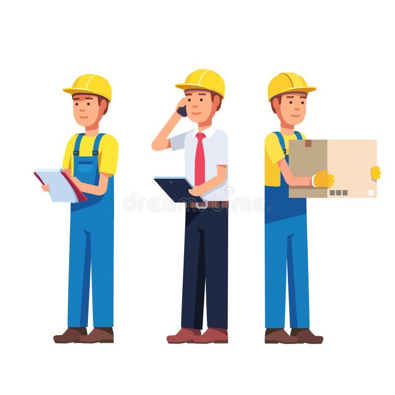 Warehouse y entrega o trabajador del edificio libre illustration