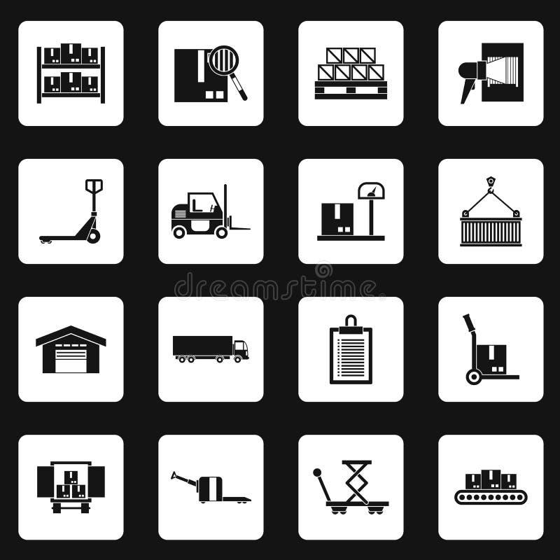 Warehouse y los iconos del almacenamiento fijaron, estilo simple stock de ilustración