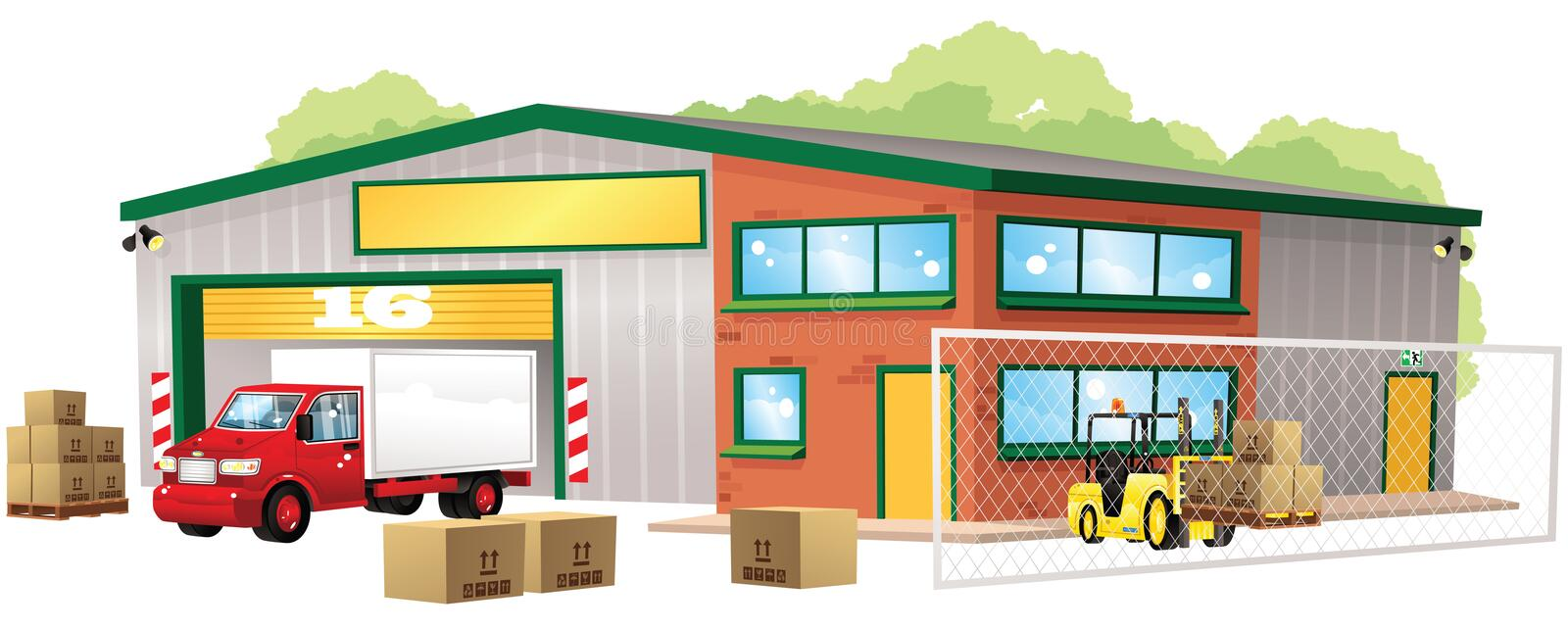 Warehouse y mercancías libre illustration