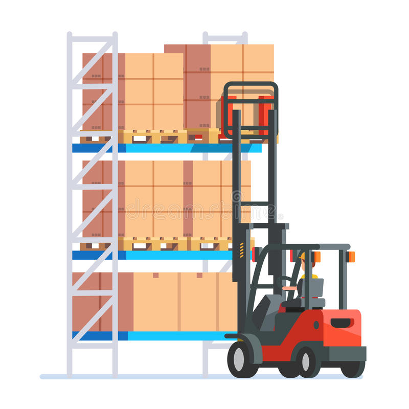 Warehouse y trabajadores de la entrega stock de ilustración