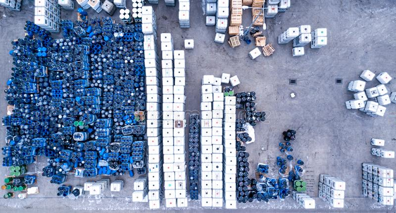 Warehouses for refrigeration plants, containers. Barrels stock images