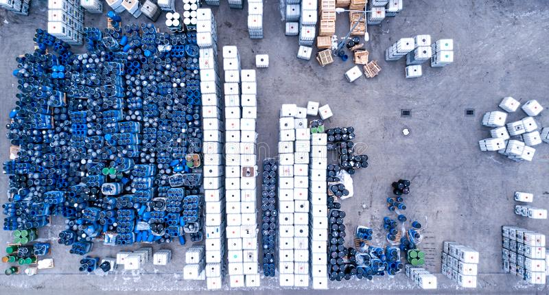 Warehouses for refrigeration plants, containers. Barrels stock photo