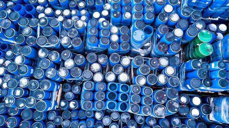 Warehouses for refrigeration plants, containers. Barrels stock photos