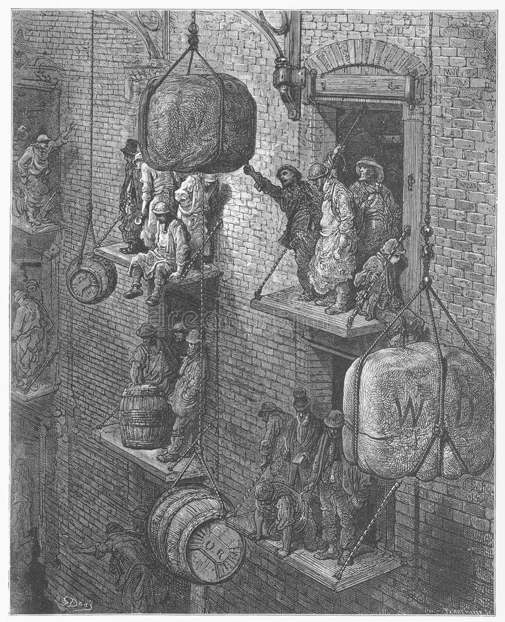 Warehousing in the city. Picture from Gustave Dore's London: a Pilgrimage illustrated book published in 1873, London - UK royalty free stock photos