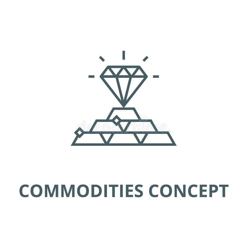 Warenkonzeptlinie Ikone, Vektor Warenkonzept-Entwurfszeichen, Konzeptsymbol, flache Illustration vektor abbildung