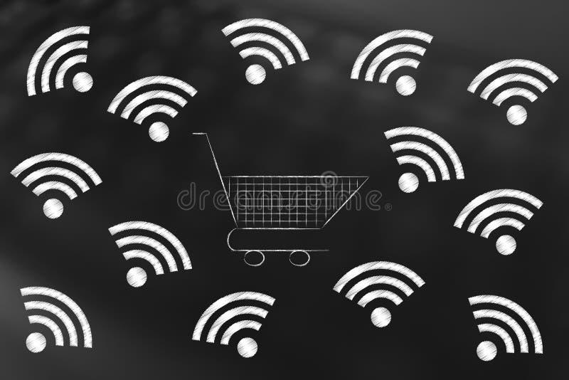 Download Warenkorb Umgeben Durch Fliegende Wi-Fisymbole Stock Abbildung - Illustration von abkommen, einzelteil: 96926959