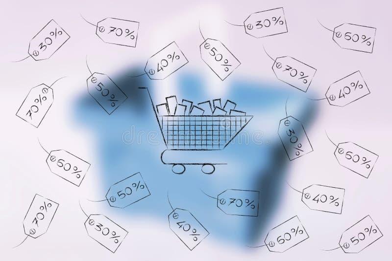 Download Warenkorb Umgeben Durch Preise Mit Prozentsatz Von Promot Stock Abbildung - Illustration von freiheit, abkommen: 96927061