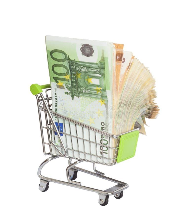 Warenkorb voll des Eurogeldes stockfotografie