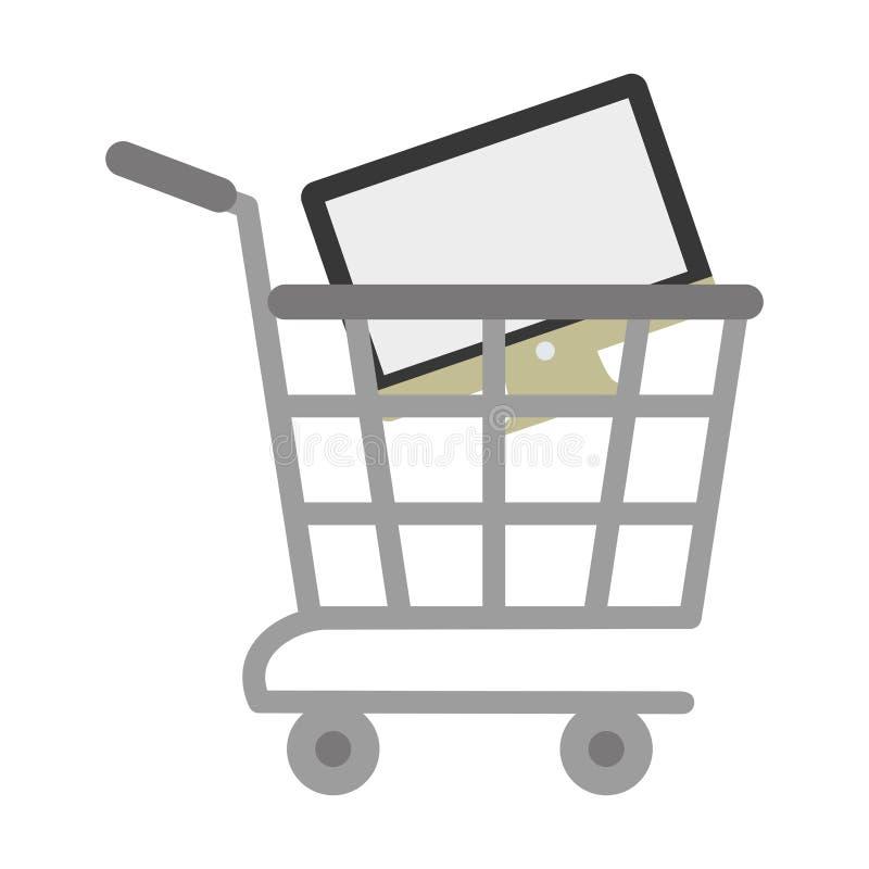 Warenkorbon-line-Computer digital stock abbildung