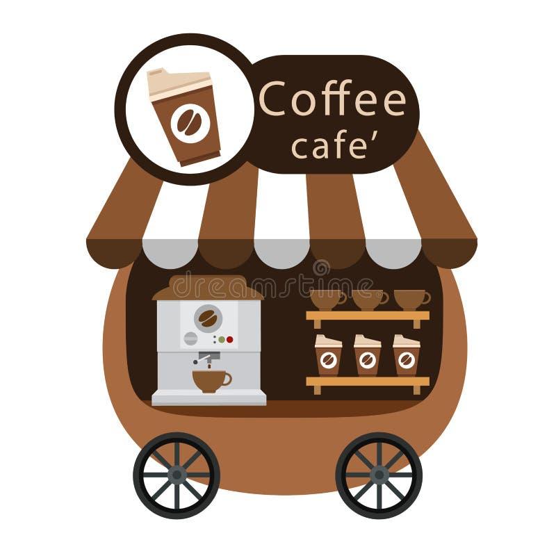 Warenkorbstall und Kaffeevektor vektor abbildung