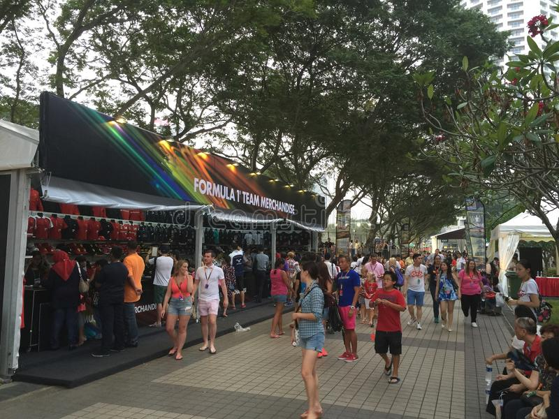 Warenställe Singapurs Grandprix F1 2015 stockfotografie