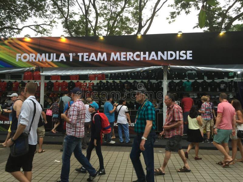 Warenställe Singapurs Grandprix F1 2015 lizenzfreie stockfotos