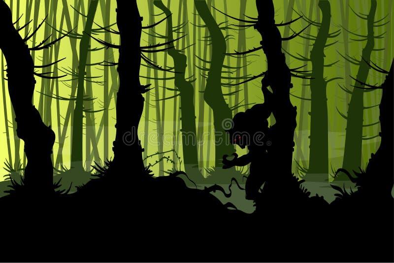 Warewolf espeluznante en el bosque libre illustration