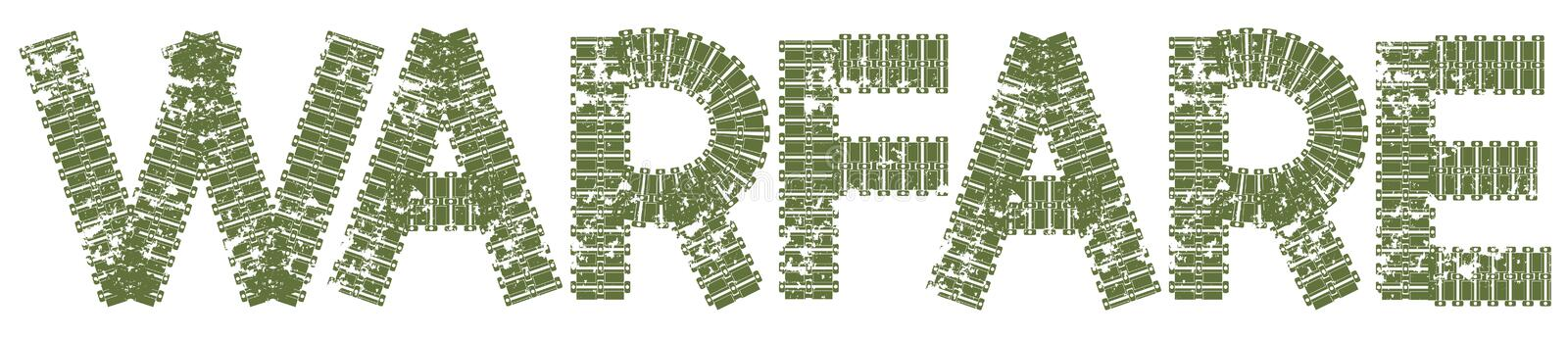 Warfare text with the letters made of tank tracks royalty free illustration