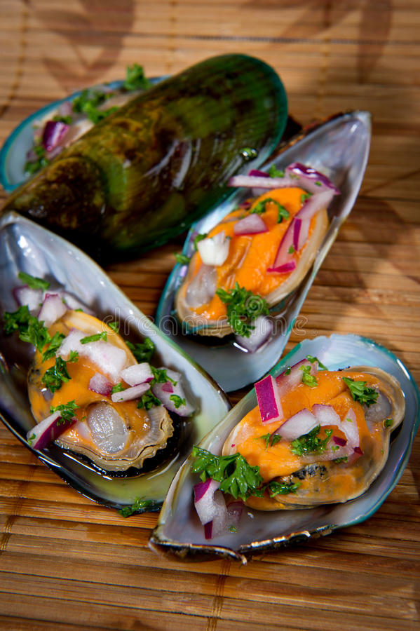 warg zieleni mussels nowy Zealand obrazy royalty free