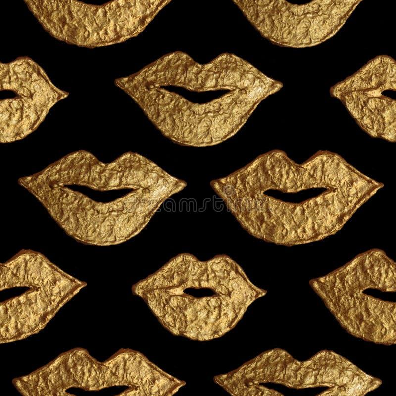 Warga złocista ręka malujący bezszwowy wzór Abstrakcjonistyczna złota usta tekstura Uśmiechu tło w rocznika stylu ilustracja wektor