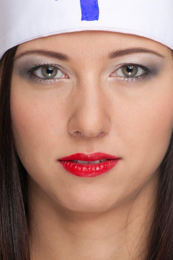 wargi kobieta medyczna czerwona seksowna jednolita obraz stock
