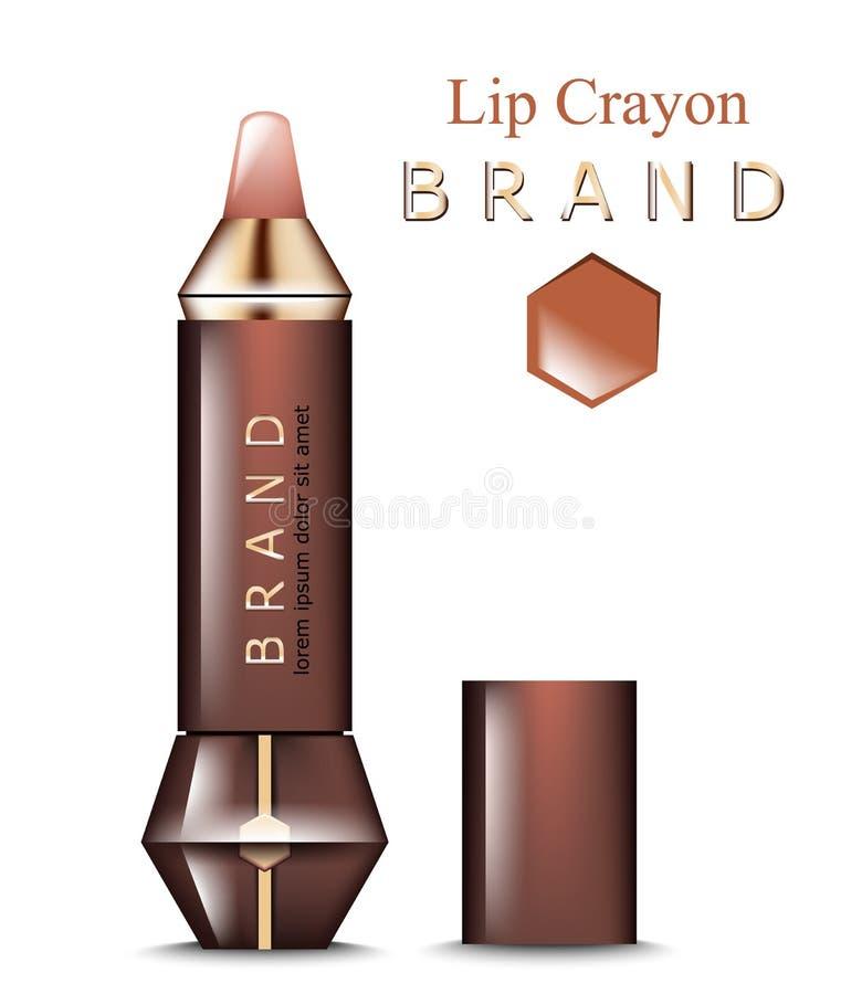 Wargi kredkowy Wektorowy realistyczny Produkt pakuje egzamin próbnego up Projekt etykietki kosmetyki royalty ilustracja