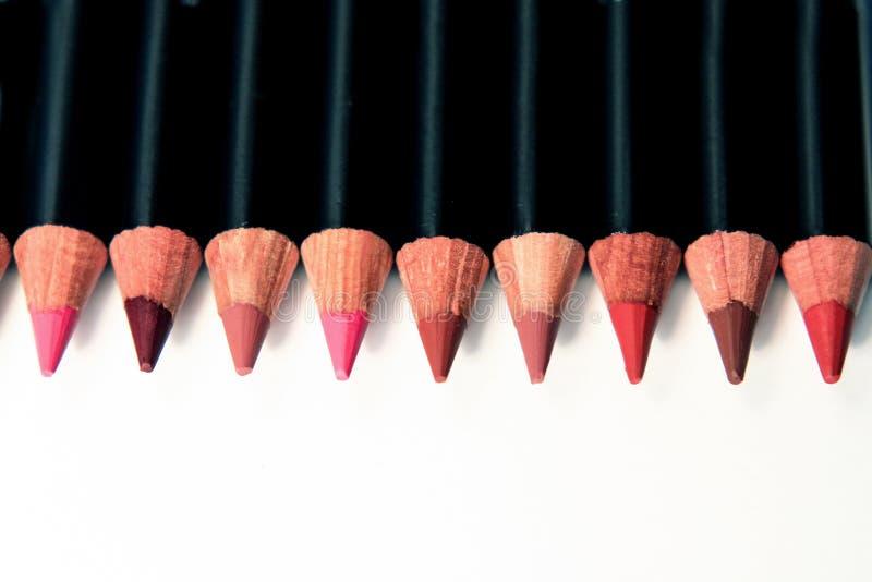 Wargi makeup ołówków paleta zdjęcie royalty free