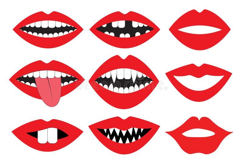 Wargi, usta z zębami, wektoru set Fotografii budka akcesorium kolekcja Podpiera retro przyjęcie set royalty ilustracja
