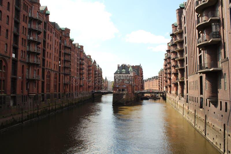 Warhousedistrict Hamburg stock foto