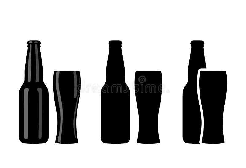 Warianty sylwetki piwne butelki i szkła r?wnie? zwr?ci? corel ilustracji wektora ilustracji