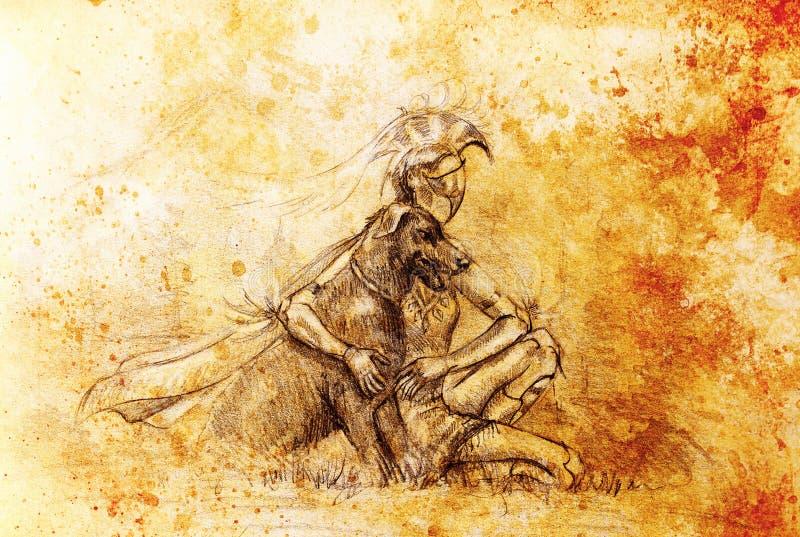 Warior místico e cão da mulher na paisagem Desenho de lápis no papel velho ilustração stock