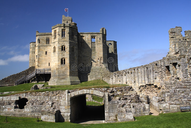 warkworth замока стоковая фотография rf