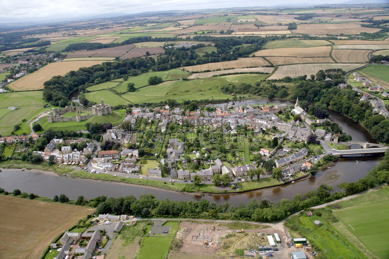 Warkworth from the air stock photography