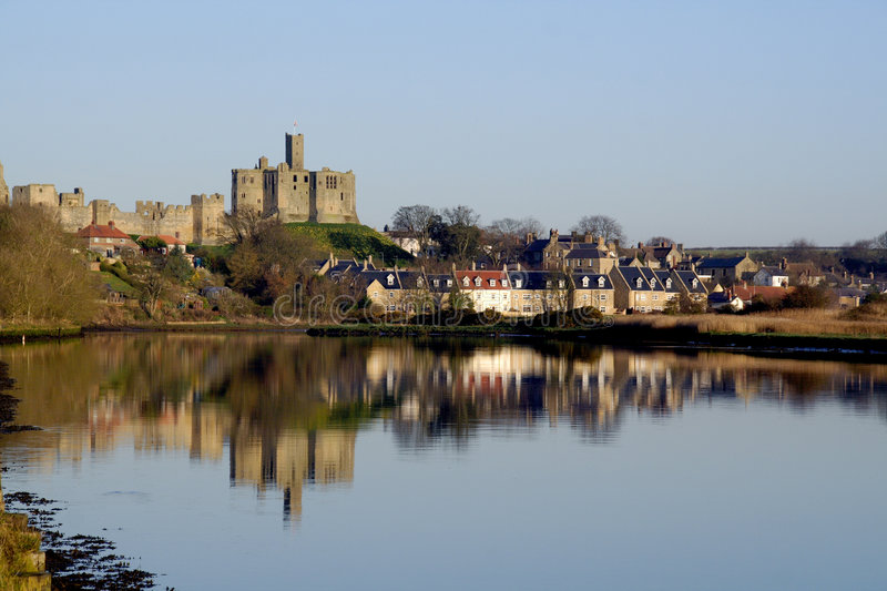 Warkworth Castle and boat stock photo