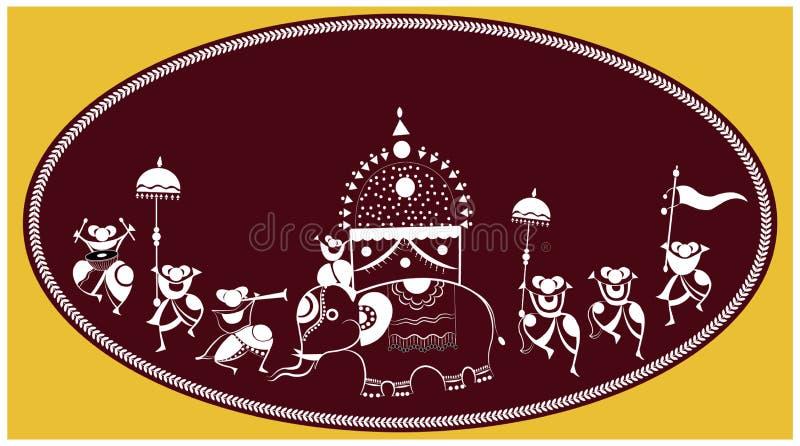 Warli Art, traditionell folkart stock illustrationer