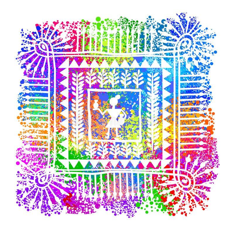 Warli stam- konst royaltyfri illustrationer