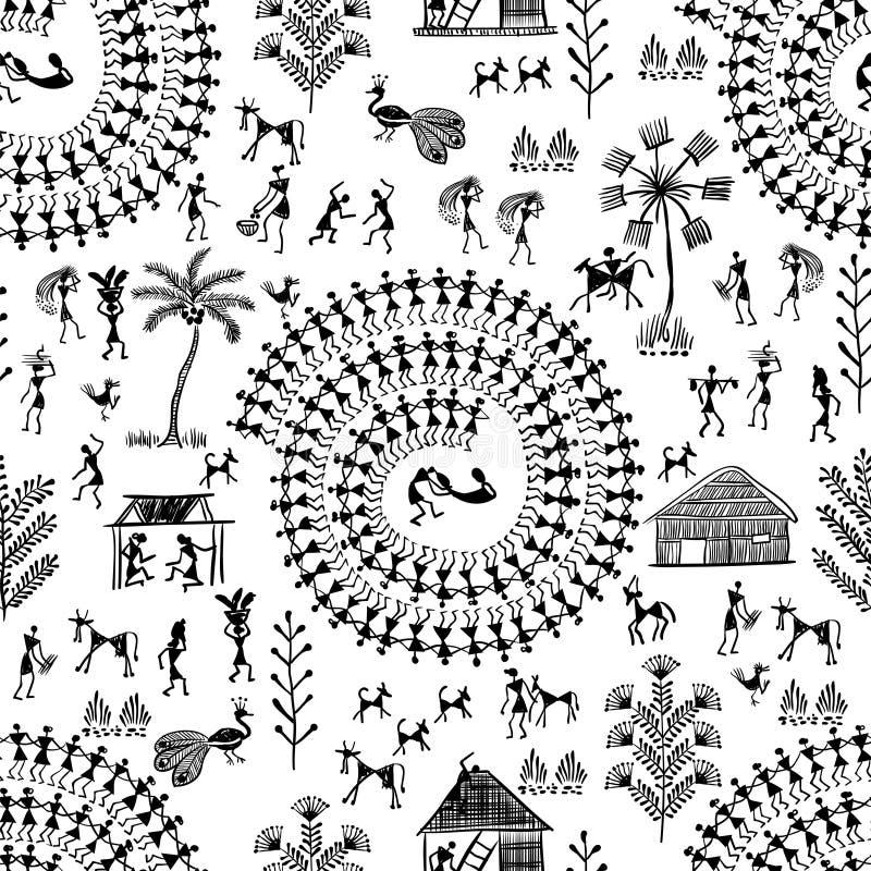 Warli stam- konst 7 stock illustrationer