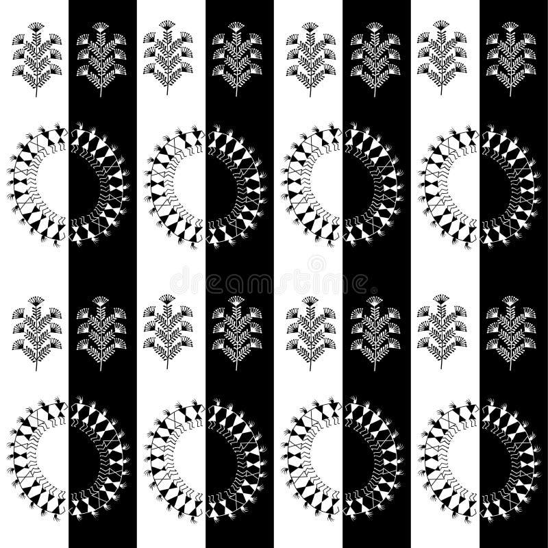 Warli stammenart. vector illustratie