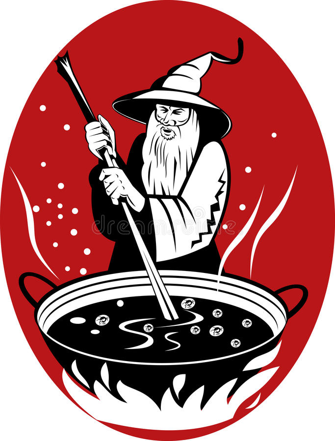 Download Warlock Cooking His Magic Brew Stock Vector - Illustration of illustration, retro: 9902526
