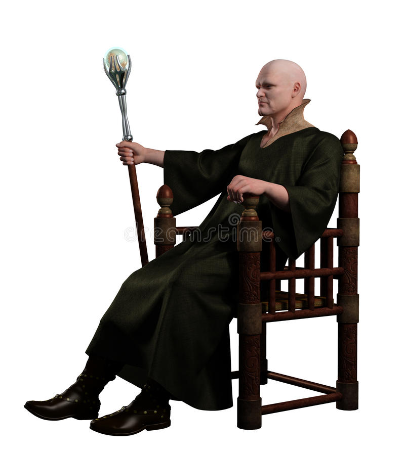 Warlock Sitting on his Throne stock illustration