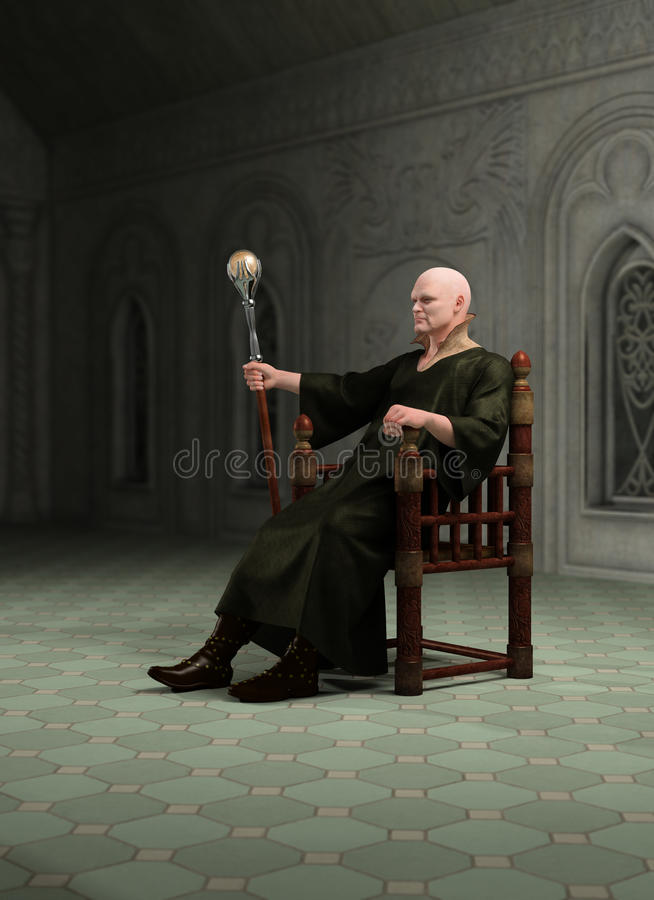 Warlocksammanträde i hans Throneroom stock illustrationer