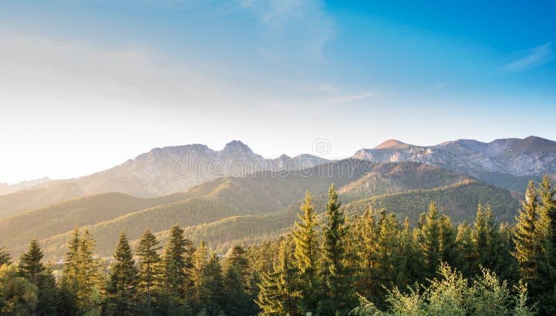 Warm afternoon light in Tatra Mountains - Giewont, Wielka Turnia, Czerwone Wierchy royalty free stock photos