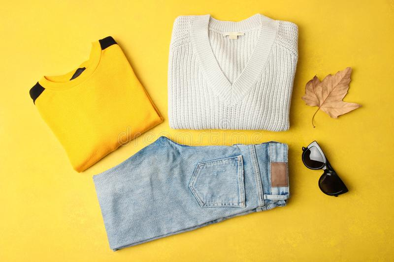 Autumn clothes and accessory stock images