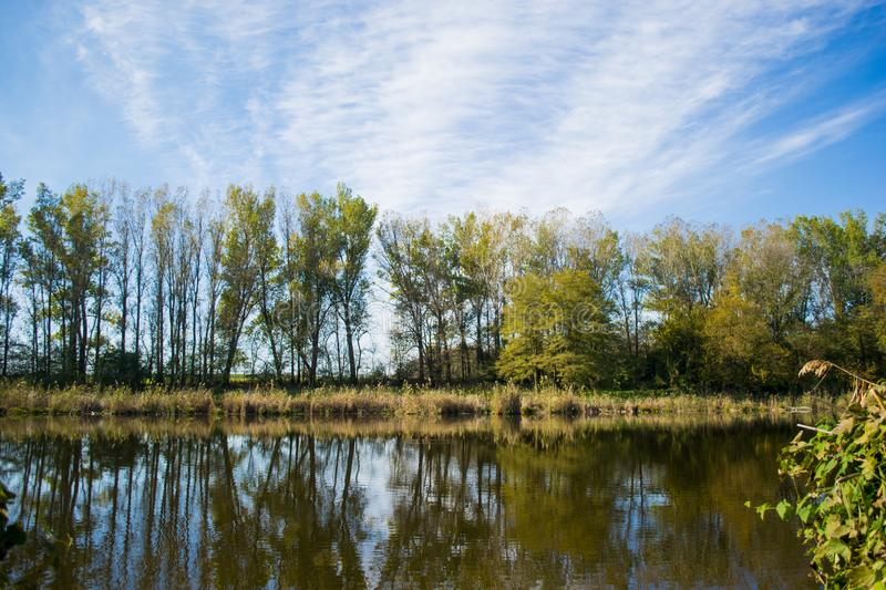 Warm autumn day on a beautiful river stock photos