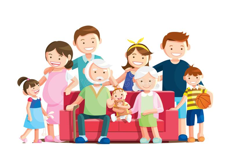 Warm big family portrait with isolated white background. Grandfather, grandmother and baby sitting on the sofa at home. Vector illustration in a flat style royalty free illustration