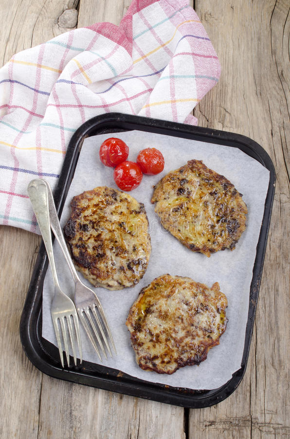 Warm black pudding boxty on a tray stock photography