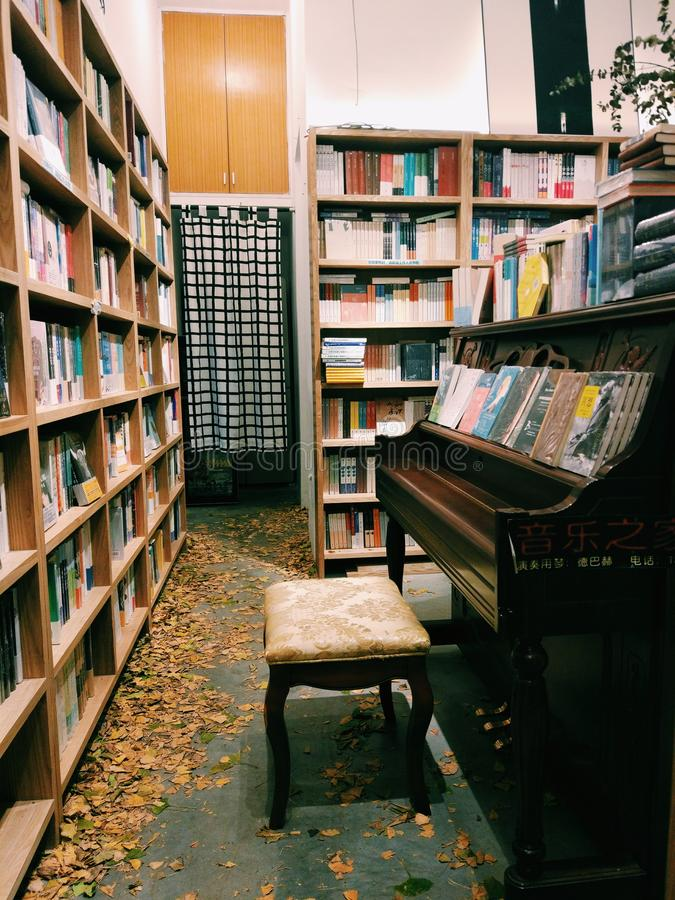 Warm book shop in winter royalty free stock photos