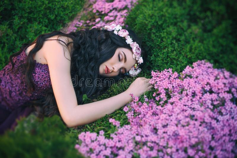 Warm bright colors, sleeping flower sorceress, fairy with wavy dark long hair, delicate wreath, gorgeous purple dress royalty free stock photography