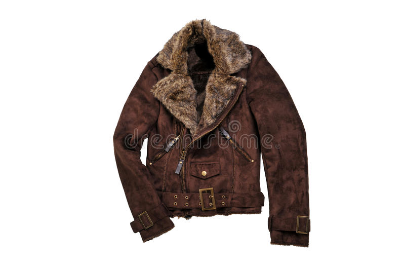 Warm brown shearling winter coat isolated on white. Casual jacket with fur collar stock photo