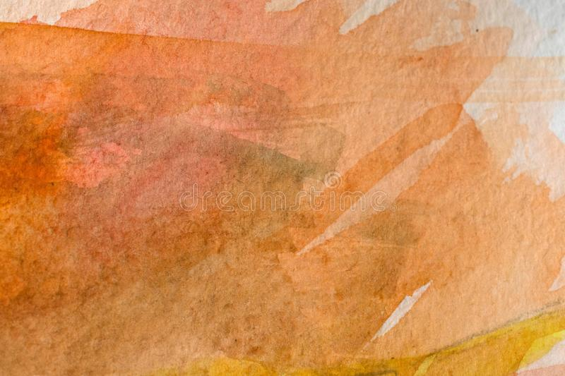 Warm brown watercolor background. Abstract watercolor painted background art, paper royalty free stock photos